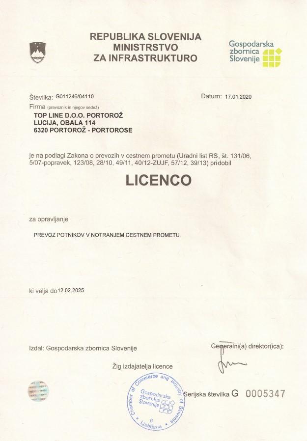 Passenger transportation licence